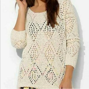 Urban Outfitters | Cream Open Knit Sweater